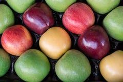 Vier verschiedene Arten reife Äpfel in einem Kasten Lizenzfreie Stockfotos