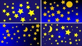 Vier verschiedene Nachtzeithimmel-Hintergrundvektoren Stockfotografie