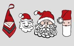 Vier verschiedene skizzierte Santa Claus Heads vektor abbildung