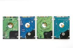 Vier verschiedene 2 5 Zolllaptop HDD ` s Stockfoto