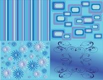 vier verschillende blauwe patronen Stock Afbeelding