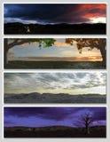 Vier verschillende fantasielandschappen voor banner, Stock Foto's