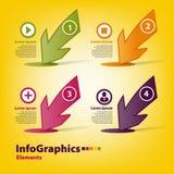 Vier verschillende gekleurde pijlen aan infographic Royalty-vrije Stock Fotografie