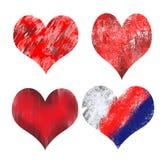 Vier verschillende getrokken harten in rood royalty-vrije illustratie