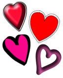 Vier verschillende harten Royalty-vrije Stock Foto's