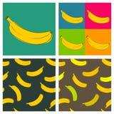 Vier verschillende illustraties van bananen Stock Afbeelding