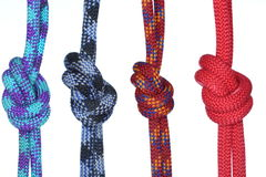 Vier verschillende kabels met knopen Royalty-vrije Stock Fotografie