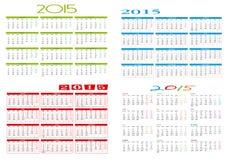 Vier verschillende kalenders 2015 Royalty-vrije Stock Foto's