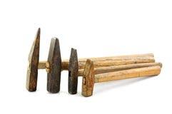 Vier verschillende met maat hamers stock afbeelding