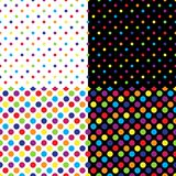Vier verschillende naadloze kleurrijke stippatronen Vector illustratie royalty-vrije illustratie