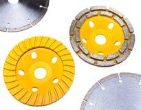 Vier verschillende schijven van de bouwdiamant voor concrete verwerking Royalty-vrije Stock Foto