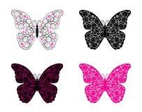 Vier versies van abstracte vlinder Stock Foto's