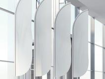Vier verticale windbanners in bureau het 3d teruggeven stock illustratie