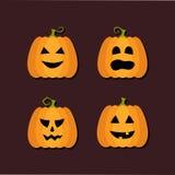 Vier vlakke pictogrammen van Halloween Stock Afbeelding