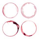 Vier vlekken van het wijnglas Stock Foto's