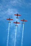Vier vliegtuigen op airshow stock afbeeldingen