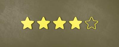 Vier von fünf Sternen, die, gut veranschlagen, Konzepte veranschlagend stock abbildung