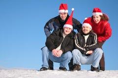 Vier vrienden bovenop heuvel Royalty-vrije Stock Foto's