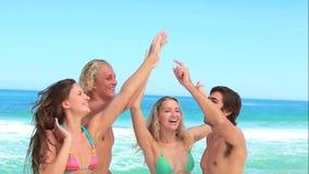 Vier vriendenpartij bij het strand samen stock footage