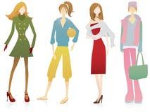 Vier vrouwelijke personages Stock Foto's