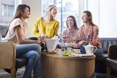 Vier vrouwen die middagthee hebben royalty-vrije stock afbeelding