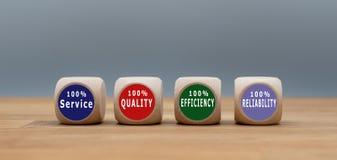 Vier Würfel mit dem Text Service, der Qualität, der Leistungsfähigkeit und der Zuverlässigkeit stockfotografie