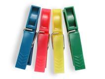 Vier Wäschereistifte - verschiedene Farben Lizenzfreies Stockfoto