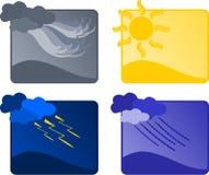 Vier weerpictogrammen Royalty-vrije Stock Afbeelding
