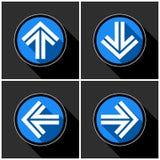 Vier weiß, blaue Pfeile mit schwarzen Schatten Stockbilder
