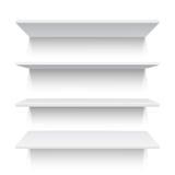 Vier weiße realistische Regale Auch im corel abgehobenen Betrag stock abbildung