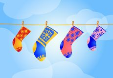 Vier Weihnachtssocken stock abbildung