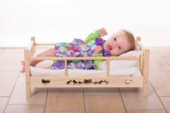 Vier weken het portret van de oude baby Stock Foto's