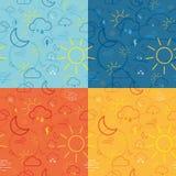 Vier Wetter-Ikonen-Muster-Fliesen Stockfotografie