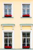 Vier Windows mit roten Blumen Stockfotos