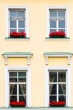 Vier Windows mit roten Blumen Stockfotos