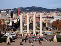 Vier witte kolommen, Montjuic, Barcelona Stock Foto's