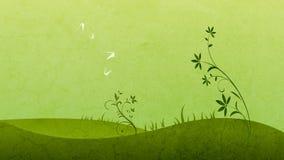 Vier witte vlinders op de groene gebiedsachtergrond stock illustratie