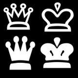 Vier Witte Vormen van de Kroon Royalty-vrije Stock Afbeeldingen