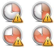 Vier Zeit-Borduhr-Warnungen vektor abbildung