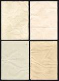 Vier zerknitterte Papierbeschaffenheit stockbilder