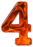4, vier, Ziffer vom Glas mit einem abstrakten Muster eines flamin Lizenzfreies Stockbild