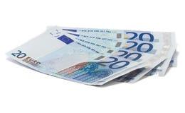 Vier zwanzig Eurobanknoten stockfotos