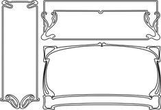 Vier Zwart-witte Frames van het Art deco. Stock Foto