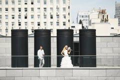 Vier zwarte kolommen Royalty-vrije Stock Foto