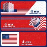Vierde banners van Juli Stock Afbeeldingen