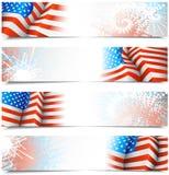Vierde banners van Juli Stock Foto's