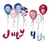 Vierde de vierings vectorillustratie van juli Stock Foto's