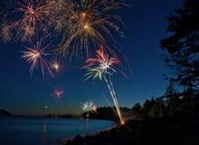 Vierde Juli-Vuurwerk. Stock Foto