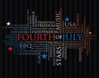Vierde juli woorden Royalty-vrije Stock Afbeelding