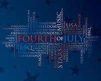 Vierde juli woorden Stock Foto's
